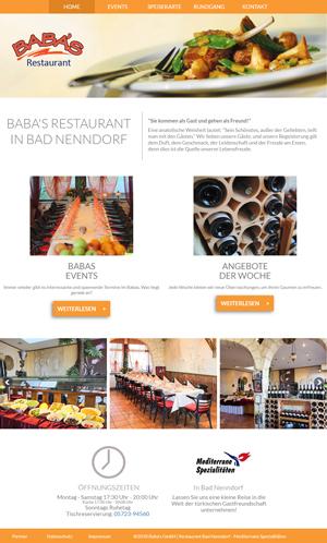 Screenshot Website Baba's Restaurant